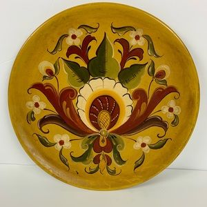 Vintage 1992 Hand Painted Wooden Tray or Plater